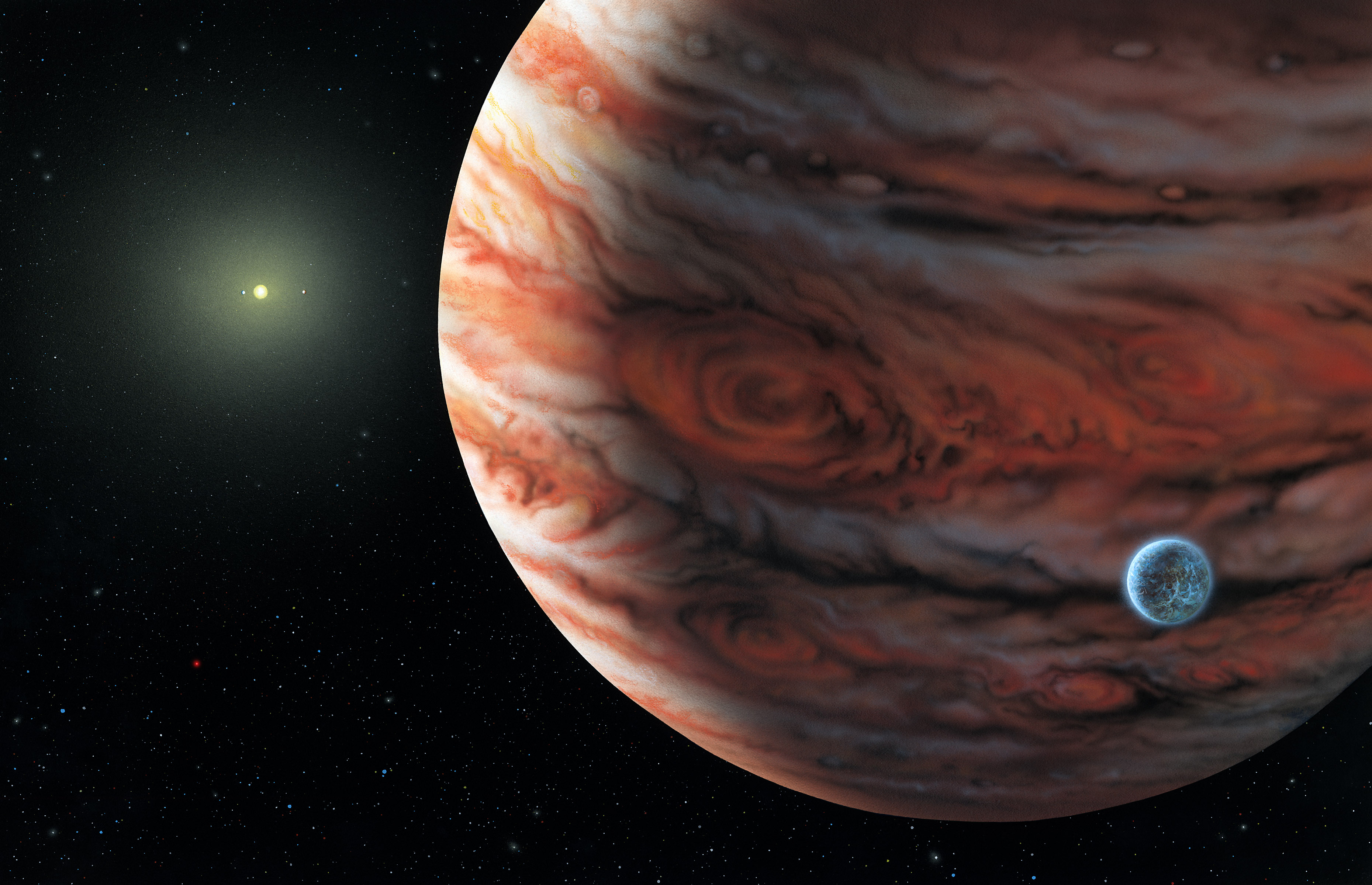 Artists impression of 55 Cancri system