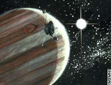 Artists impression of Pioneer 10s encounter with Jupiter