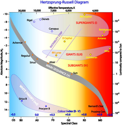 Hertzsprung russell diagram cosmos the hertzsprung russell diagram the various stages of stellar evolution by far the most prominent feature is the main sequence grey which runs from the ccuart Images
