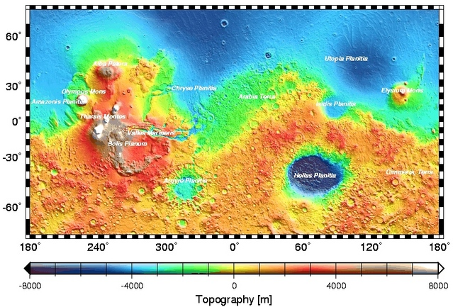 Global topographic map of mars by mola with major surface features