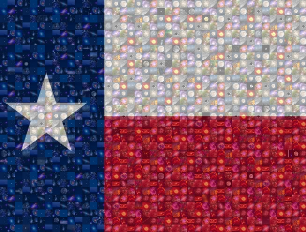 Mosaic of the Texas flag composed from astronomy images
